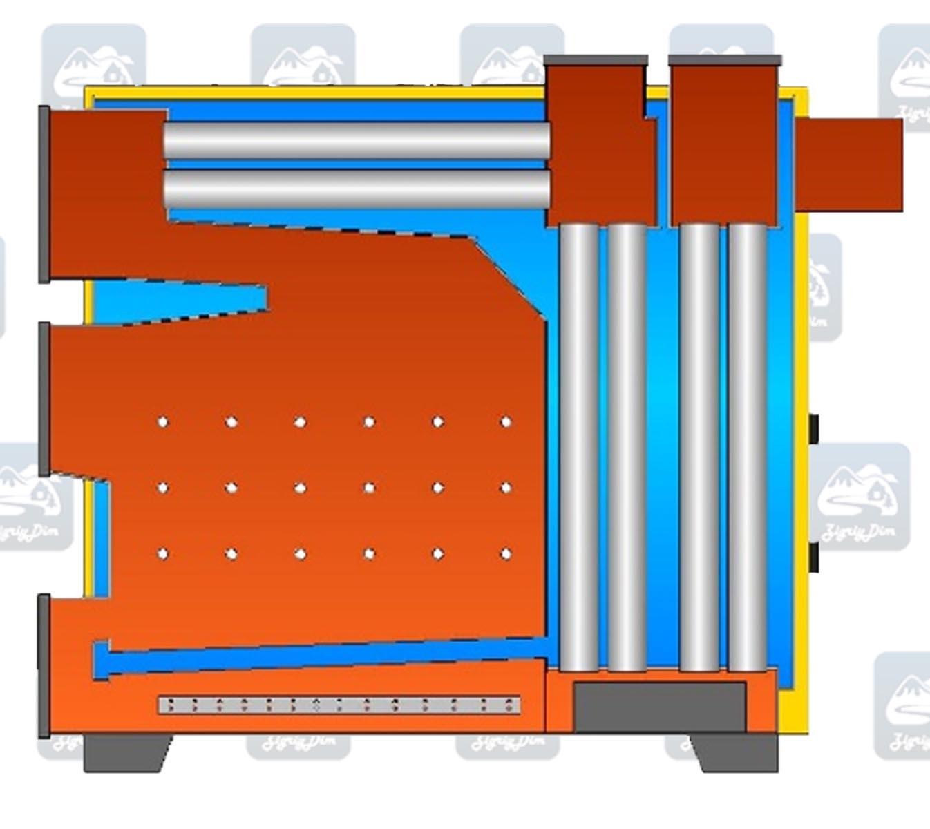 Схема твердотопливного котла длительного горения Warmhaus Industrial