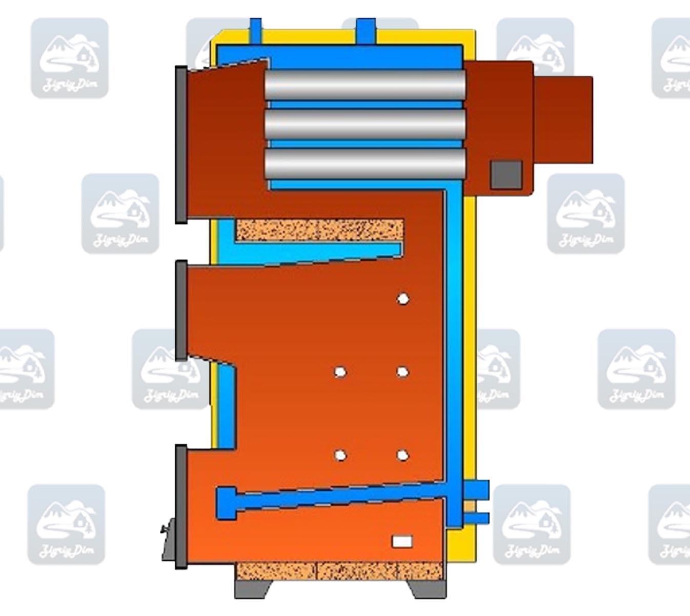 Схема твердотопливного котла длительного горения Warmhaus Premium